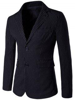 Slim Fit Single Breasted Lapel Striped Blazer - Black L