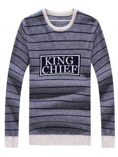 Crew Neck Striped Graphic Long Sleeve Sweater - Deep Gray L