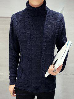 À Manches Longues à Col Roulé En Maille Torsadée Sweater - Bleu Cadette M