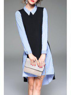 Gestreiftes Hemd Kleid Mit Strickweste - Blau S