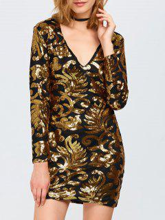 Long Sleeve Sequined Sparkly Dress - Golden M