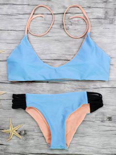 Strappy Color Block Bikini Set - Blue L