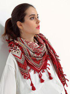 Totem Pattern Tassel Scarf - Wine Red