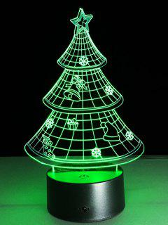 3D Christmas Tree Shape Touch Night Light - Transparent