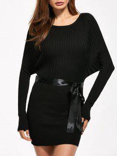 Round Neck Bodycon Ribbed Sweater Dress - Black