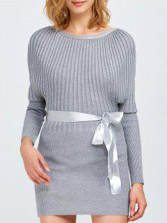 Round Neck Bodycon Ribbed Sweater Dress - Gray