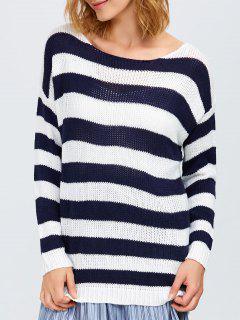 Round Neck Striped Tunic Sweater - White And Black
