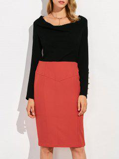 Cowl Neck Blouse With Bodycon Skirt - Red With Black S