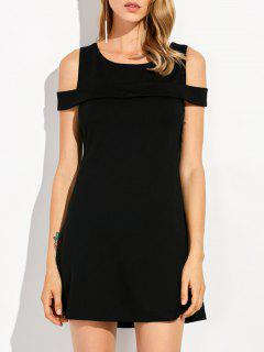 Round Neck Cold Shoulder Mini Dress - Black S