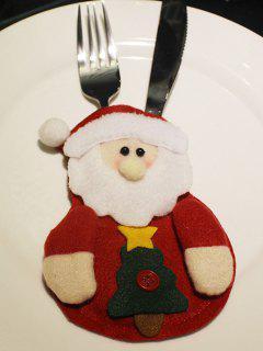 Christmas Santa Claus Tableware Cover Bag - Red
