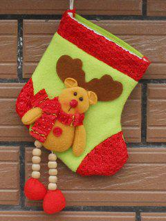 Christmas Deer Pattern Hanging Santa Present Sock - Yellow