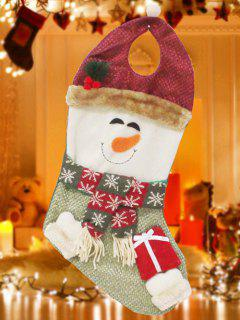 Snowman Hanging Present Stocking Bag - Red And Green