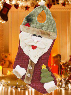 Santa Christmas Hanging Present Stocking Bag - Red And Green