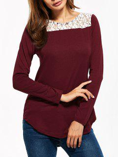 Lace Panel Cut Out T-Shirt - Burgundy S