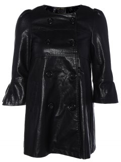 Flare Sleeve Double Breasted PU Leather Dress - Black M