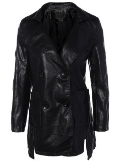 Lapel Collar Double Breasted PU Leather Coat - Black M
