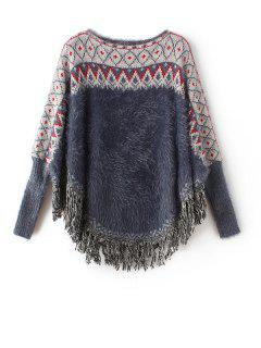 Jacquard Knit Mohair Batwing Sweater - Cadetblue