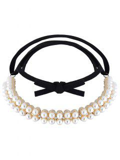 Velvet Fake Pearl Choker Necklace - Golden