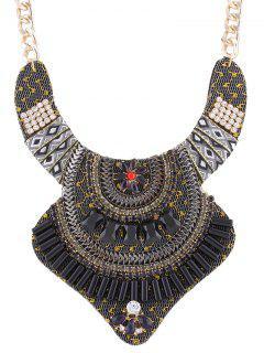 Collar De La Flor De La Aleación Rhinestone De La Vendimia - Negro