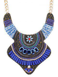 Vintage Rhinestone Alloy Flower Necklace - Blue
