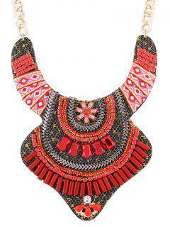 Collar De La Flor De La Aleación Rhinestone De La Vendimia - Rojo