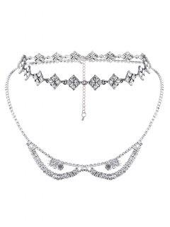 Alloy Rhinestone Layered Necklace - Silver