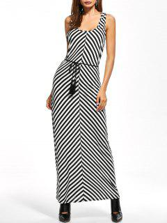 Striped Racerback Maxi Tank Dress - Stripe S