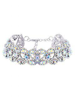 Hollowed Rhinestone Necklace - Silver