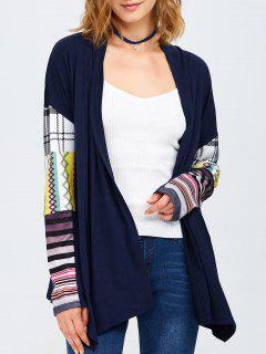 Manteau Imprimé Tribal Sans Col - Bleu Violet L