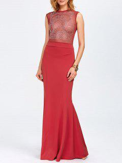 Rhinestone Maxi Evening Gown Formal Dress - Red Xl