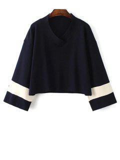 Pull Tricotee Contraste à Manches Kimono - Bleu Violet