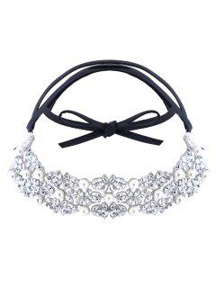 Faux Pearl Rhinestone PU Leather Necklace - Silver