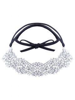 Collar De Cuero De La PU Rhinestoned - Blanco
