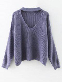 Cutout V Neck Choker Sweater - Purple