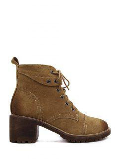 Eyelets Chunky Heel Combat Boots - Brown 38