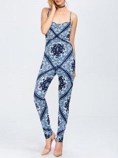 Paisley Print Cami Jumpsuit - Blue M