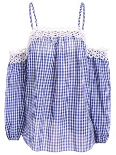 Gingham Check Cold Shoulder Blouse - Blue And White 2xl