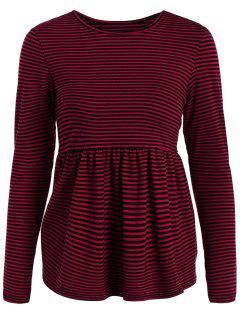 Striped Long Sleeve Smock T-Shirt - Red Xl