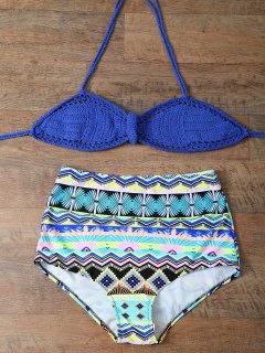 High Waisted Crochet Bikini Set - Sapphire Blue Xl