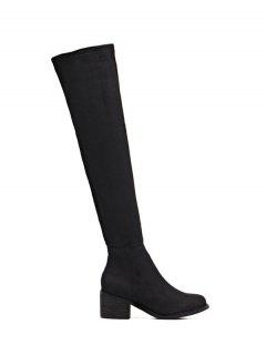 Chunky Heel Thigh High Boots - Black 38