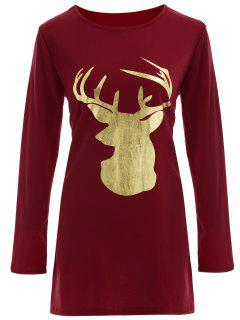 Reindeer Christmas Tee Dress - Burgundy M