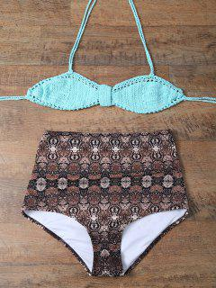 High Waisted Printed Knitted Multiway Bikini - Coffee And Green M