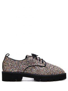 Lace Up Sequins Platform Shoes - Golden 38