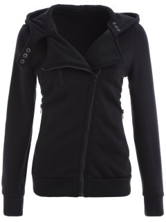 Zip Through Hoodie - Black L
