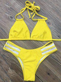 Side Strap Plunge Bikini - Yellow S