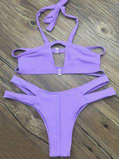 Side Strap Cut Out Halter Bikini - Purple S