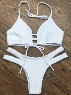 String Halter Unlined Bikini Swimwear - White M