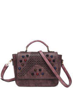 Colored Rivet Cut Out Handbag - Dark Red