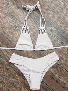 Halter Riemchen Plunge Bikini - Aprikose M