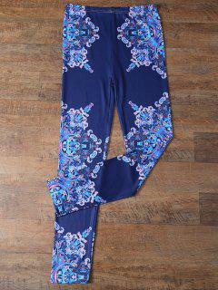 Flower Printed Leggings - Cadetblue M